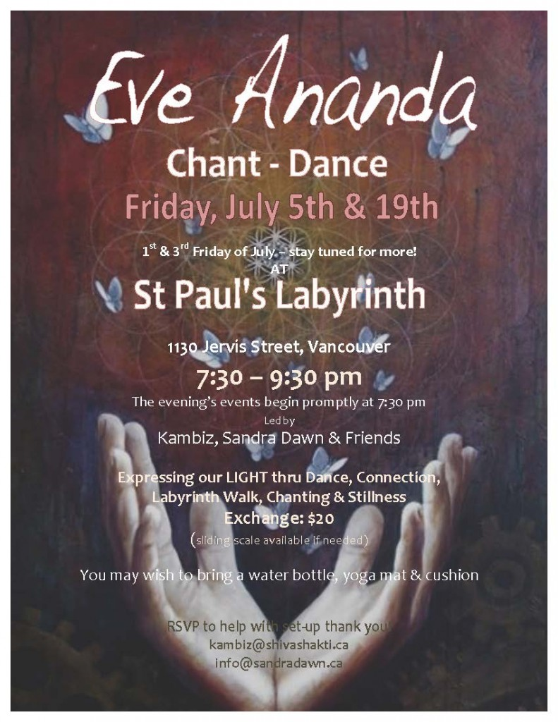 Eve Ananda June 2013 poster with open hands photo
